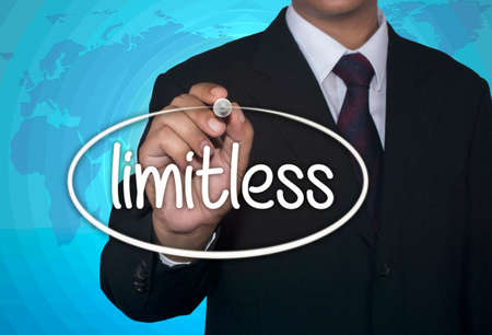 unrestricted: Business concept handwriting marker and write Limitless Preparation over light blue background with world map