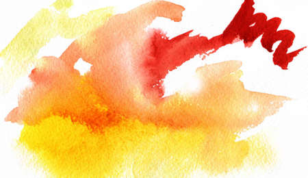 Abstract watercolor red, orange, yellow multicolor background. Watercolor hand drawn backdrop.