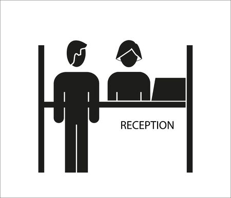 Reception desk icon on a white background