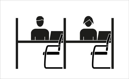 Reception desk with chair icon on a white background