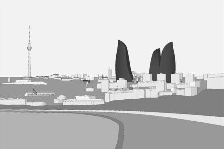 Seaside boulevard in Baku, Azerbaijan grayscale vector illustration