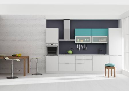 Kitchen interior colorful 3D rendering Imagens