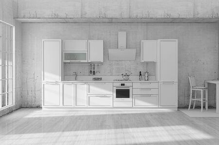 Kitchen interior grid 3D rendering