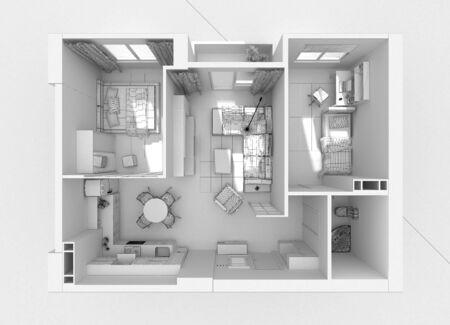 Apartment interior top view grid 3D render Standard-Bild
