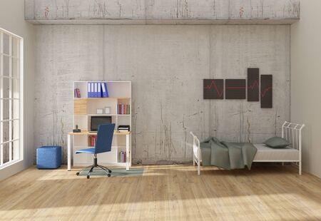 Home office interior 3D render Archivio Fotografico