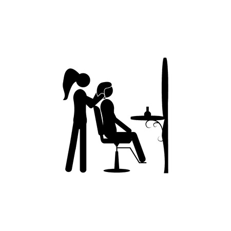 The stylist does a hairdo. Elements of beauty saloon icon. Premium quality graphic design. Signs, outline symbols collection icon for websites, web design, mobile app on white background.