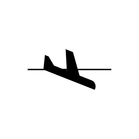 Airplane landing icon illustration on white background.