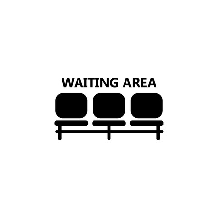 Airport seat place, waiting area icon illustration on white background.