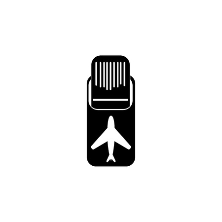 Airplane on runway Icon illustration on white background.