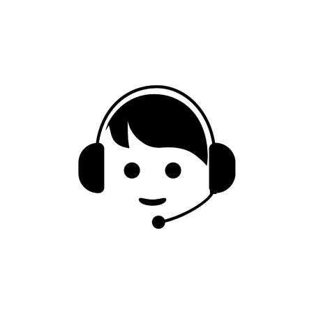 Call center icon illustration on white background. Vettoriali