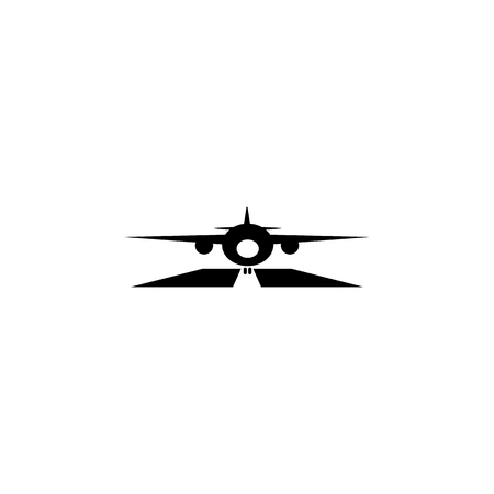 Airplane on runway icon illustration on white background. Иллюстрация
