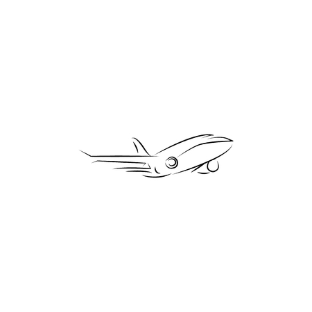 Flying airplane - stylized vector illustration icon on white background.