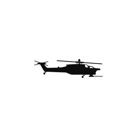 Military helicopter silhouette icon. Military tech element icon. Premium quality graphic design icon. Professions signs, isolated symbols collection icon for websites, web design on white background.