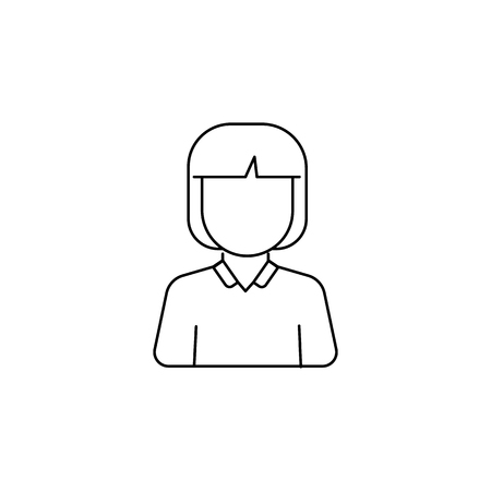 Schoolgirl avatar icon on white background illustration.