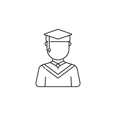 Graduate male avatars icon on white background illustration. Stock Illustratie