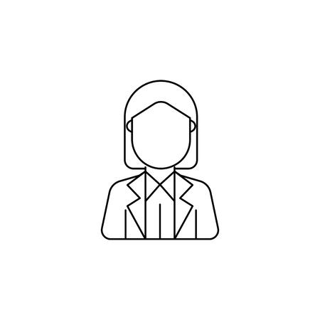 Businesswoman avatar icon on white background illustration.