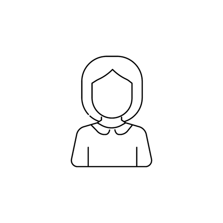 Schoolgirl avatar icon on white background illustration.