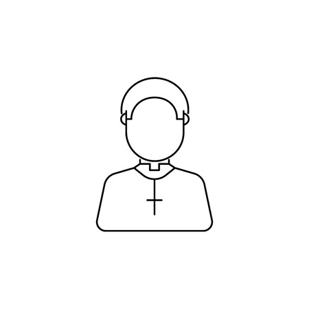 Cute priest avatar icon on white background illustration.