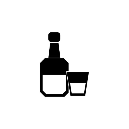 Alcohol bottle with glass icon. Human weakness, Addiction element icon. Premium quality graphic design. Signs, outline symbols collection icon for websites, web design on white background. Illustration