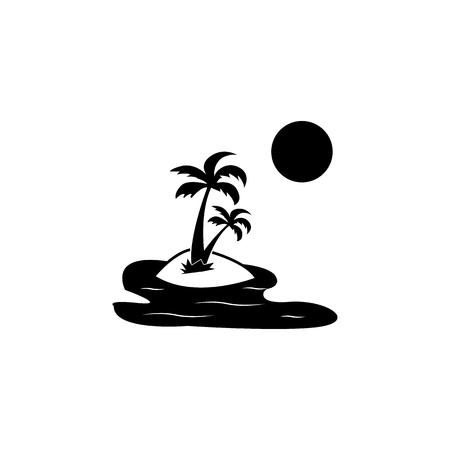 Exotic island icon on white background illustration.