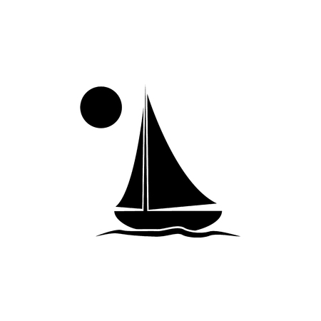 Yacht icon. Boat ship vector on white background Ilustracja