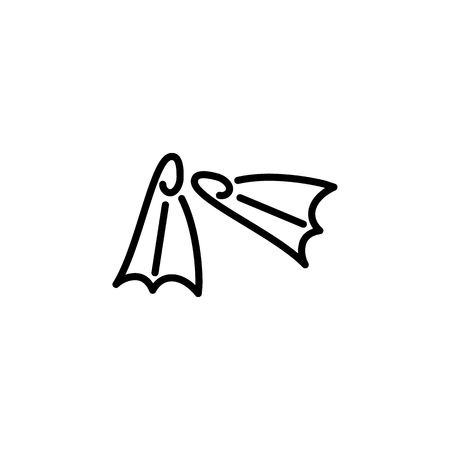 Diving flippers icon. Beach holidays simple icon. Travel element icon. Premium quality graphic design. Signs, outline symbols collection icon for websites, web design on a white background.