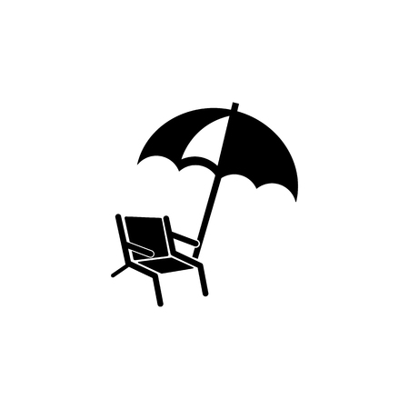 Chair and beach umbrella icon. Beach holidays simple icon. Travel element icon. Premium quality graphic design. Signs, outline symbols collection icon for websites, web design on white background
