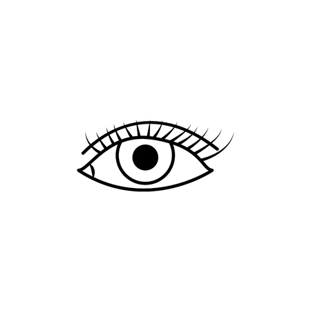Caucasian female eye wide open with eyebrow icon. Body part element. Premium quality graphic design. Signs, outline symbols collection, simple thin line icon for websites, web design on white background