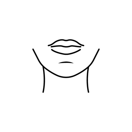 Woman chin icon. Body part element. Premium quality graphic design. Signs, outline symbols collection, simple thin line icon for websites, web design, mobile app, info graphics on white background.