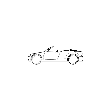 Convertible car line icon on white background Illustration