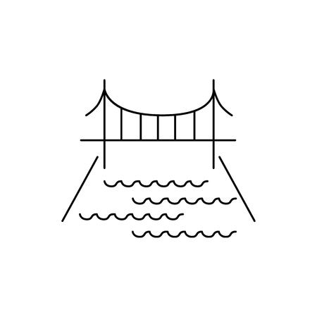 City bridge line icon. Element for mobile concept and web apps. Thin line vector icon for website design and development, app development. Premium icon on white background Illustration