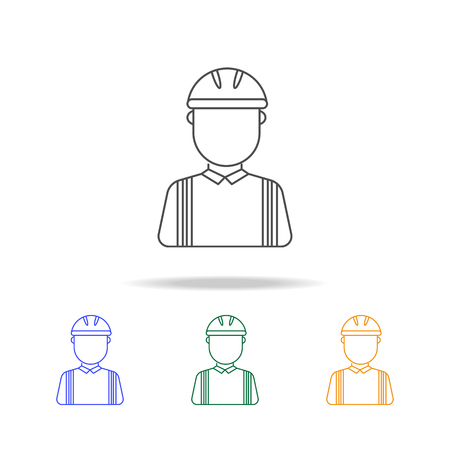 Construction worker avatar multicoloured icons. Element of profession avatar of for mobile concept and web apps. Thin line icon for website design and development, app development on white background Illustration