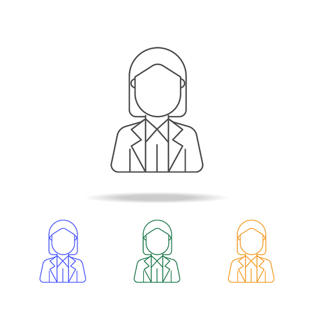 Businesswoman avatar multicolored icons. Element of profession avatar of for mobile concept and web apps. Thin line icon for website design and development, app development Illustration