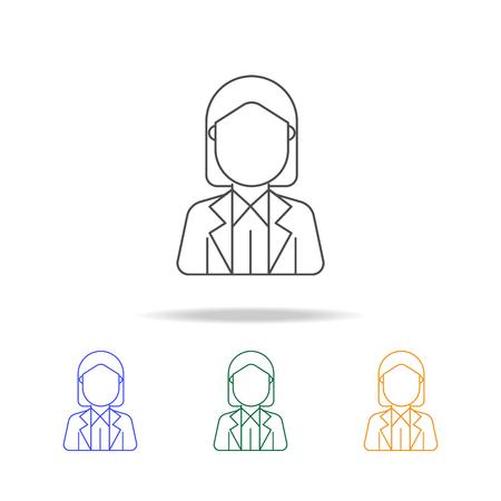 Businesswoman avatar multicolored icons.
