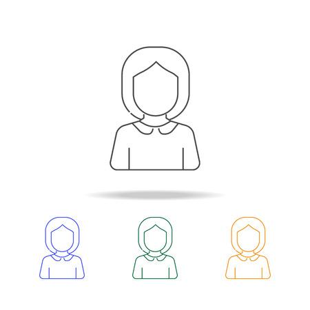 Schoolgirl avatar multicolored icons. Stock Illustratie