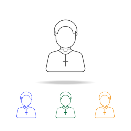 Priest avatar multicoloured icons. Element of profession avatar of for mobile concept and web apps. Thin line icon for website design and development, app development on white background Illustration