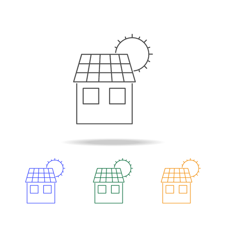 Eco house icons. Element of ecology for mobile concept and web apps. Thin line icon for website design and development, app development. Premium multicolor icons on white background Illustration