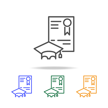 Graduate diploma and hat icons. Element of education for mobile concept and web apps. Thin line icon for website design and development, app development. Premium multicolor icons on white background Illustration
