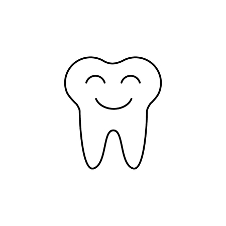 Smiling tooth icon on white background