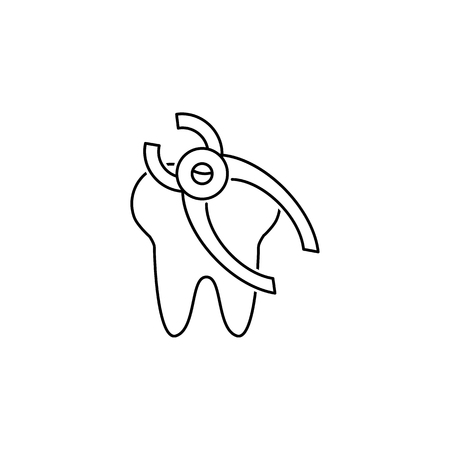Simple tooth removal line icon