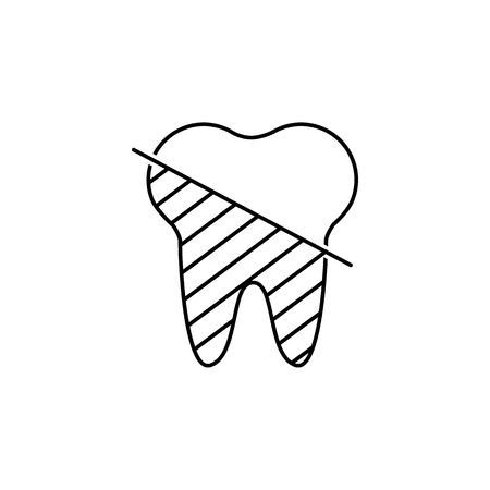 Icons of tooth in thin line style. Dental clinic, dentist, dentistry logotype concept. Vector outline simple icon on white background.