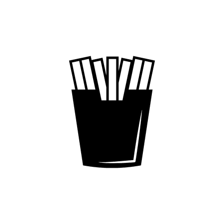 French fries icon simple black eating icon Can be used as web element, eating design icon on white background