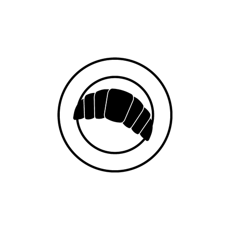 croissants lying on a plate icon simple black eating icon Can be used as web element, eating design icon on white background