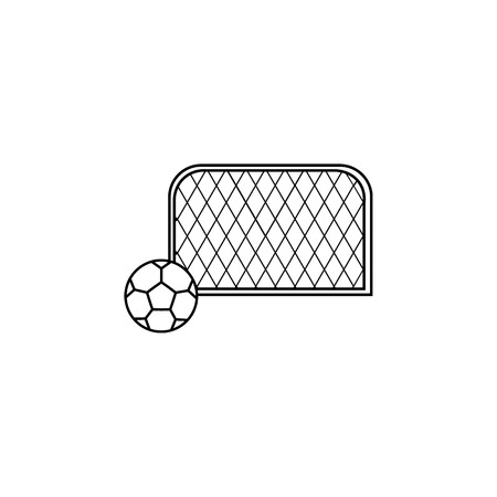 Soccer goal with ball icon on white background