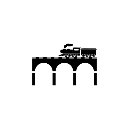 Simple locomotive passing through the bridge icon.