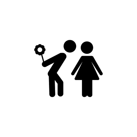 Simple loving couple with hide flower in his hand standing Love icon. Vettoriali
