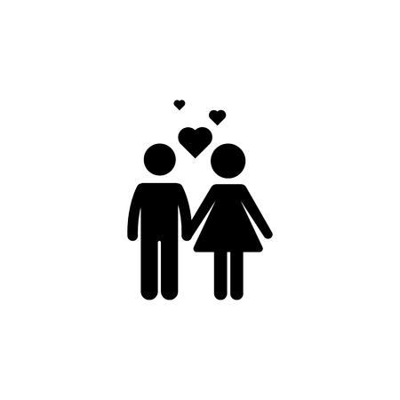 Koppel met liefde pictogram. Vector illustratie Eenvoudig zwart familiepictogram. Kan worden gebruikt als webelement, familieontwerppictogram op witte achtergrond Stock Illustratie