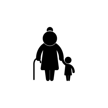 Grandmother with child familiar silhouettes icon. Simple black family icon. Can be used as web element, family design icon on white background Çizim