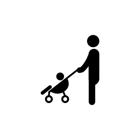 Mother with a stroller and baby icon. Simple black family icon. Can be used as web element, family design icon on white background