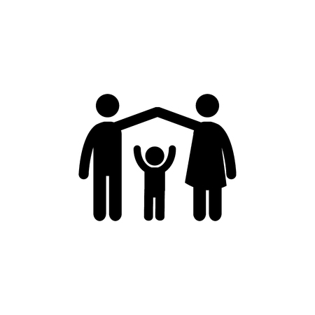 parents protect the child icon. Simple black family icon. Can be used as web element, family design icon on white background